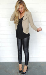 DOUBLE ZIP MOTO JACKET - TAUPE