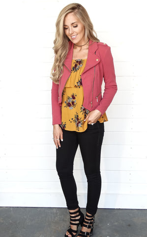 DOUBLE ZIP MOTO JACKET - DUSTY ROSE