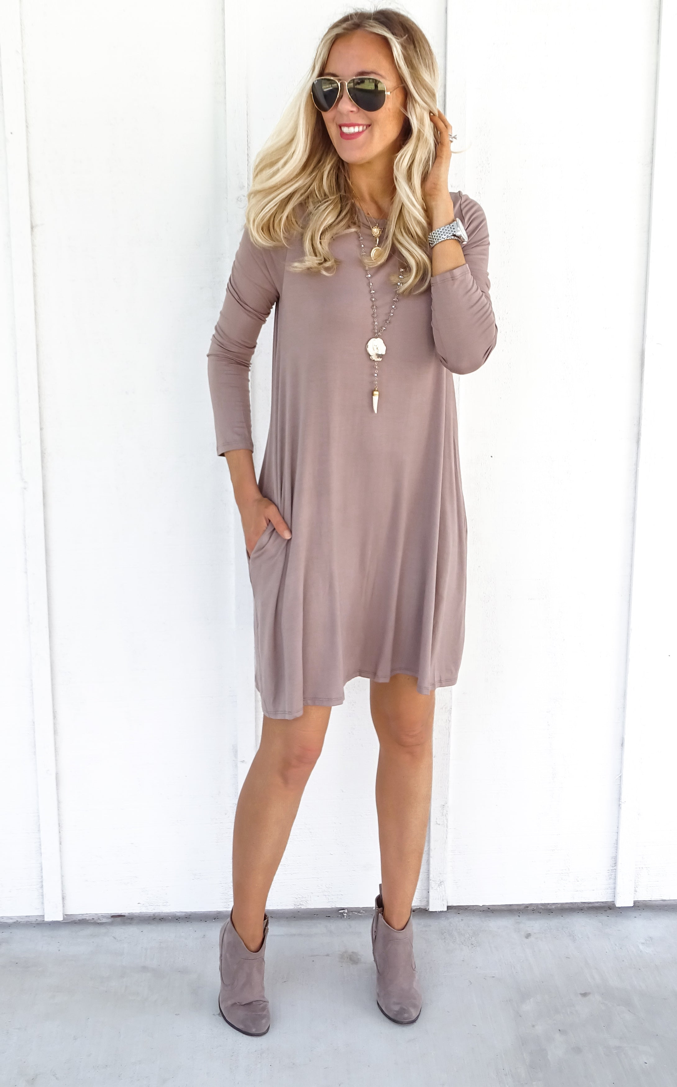 CREW DRESS - TAUPE