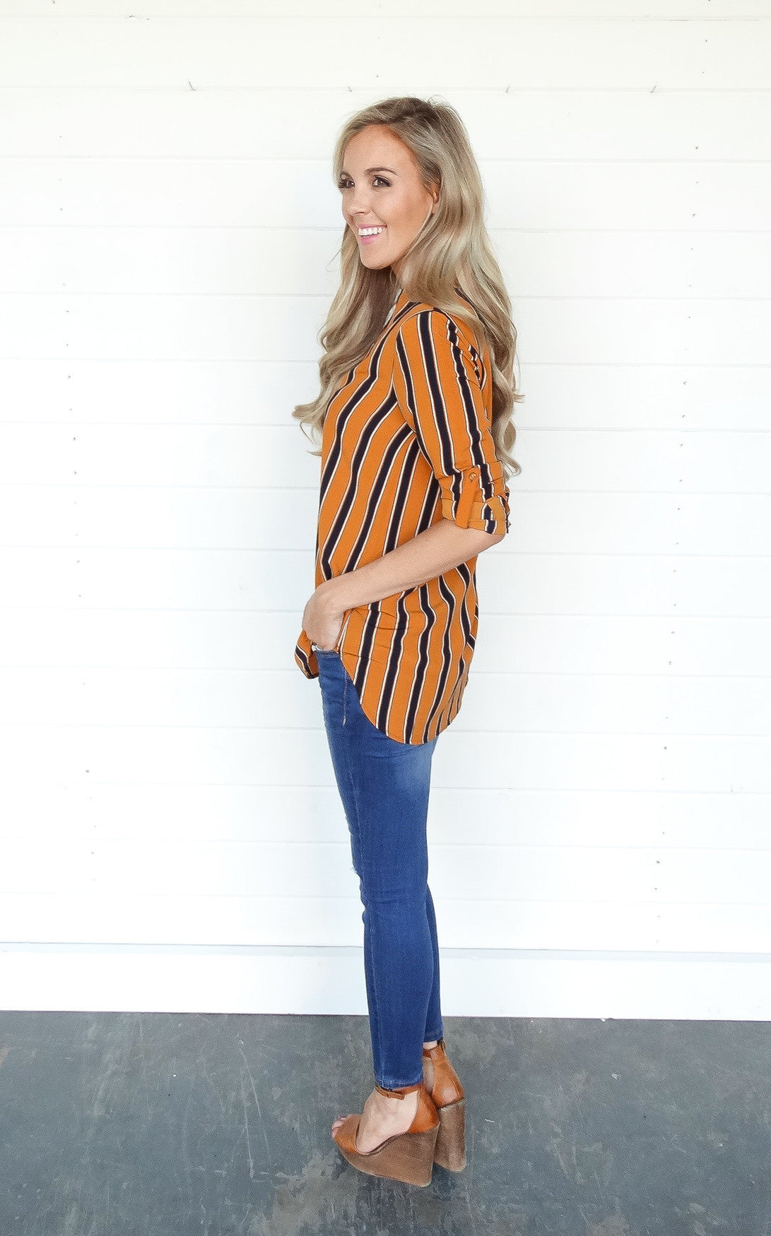 STRIPED TUNIC - MUSTARD