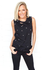 DISTRESSED STAR TEE