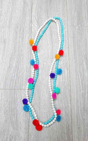 POM NECKLACE - TURQUOISE
