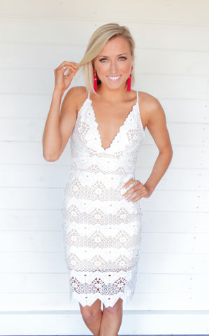AMELIA LACE DRESS - WHITE