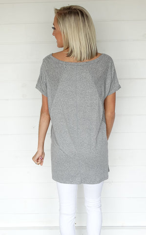 HIGH LOW TEE - HEATHER GREY