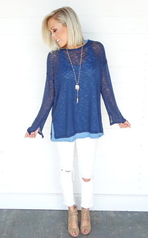 KNIT LONG SLEEVE - DENIM