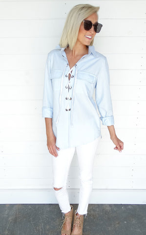 LACE UP CHAMBRAY