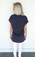 SLIT SIDE V-NECK TEE - NAVY