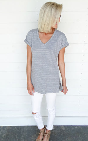 SLIT SIDE V-NECK TEE - GREY