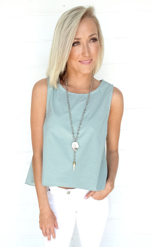 SPLIT BACK TOP - MINT