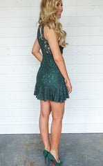 HIGH NECK LACE DRESS - EMERALD