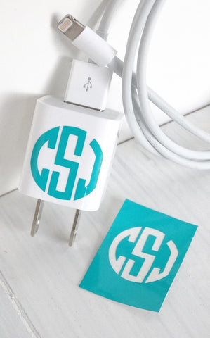 VINYL CHARGER MONOGRAM STICKER - TURQUOISE