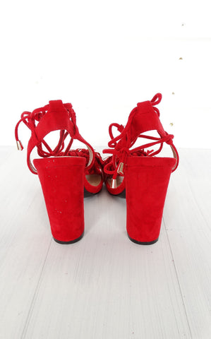 KARLYE FRINGE BLOCK SANDALS - RED