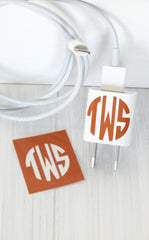 VINYL CHARGER MONOGRAM STICKER - BURNT ORANGE