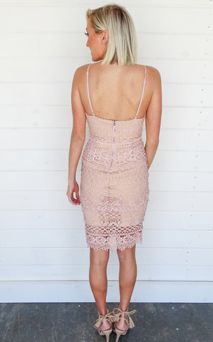 AMELIA LACE DRESS - BLUSH