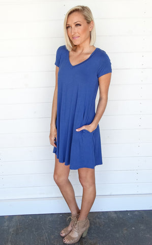 Short Sleeve Tee Dress - Royal