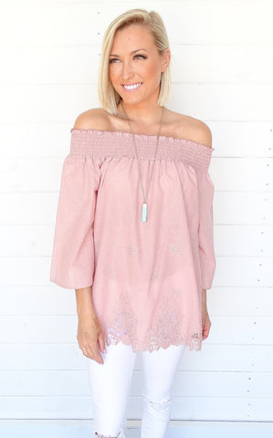 SMOCKED TOP - BLUSH