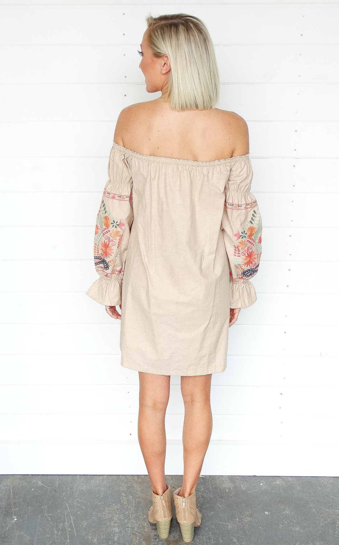 TULUM OFF THE SHOULDER DRESS - KHAKI
