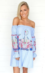 TULUM OFF THE SHOULDER DRESS - BLUE
