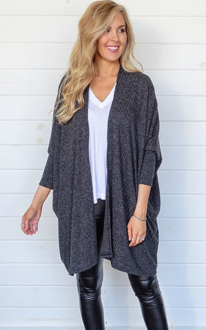 RIBBED CARDIGAN - CHARCOAL