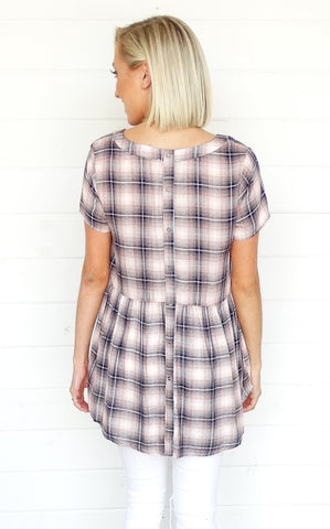 PEPLUM BUTTON BACK TUNIC