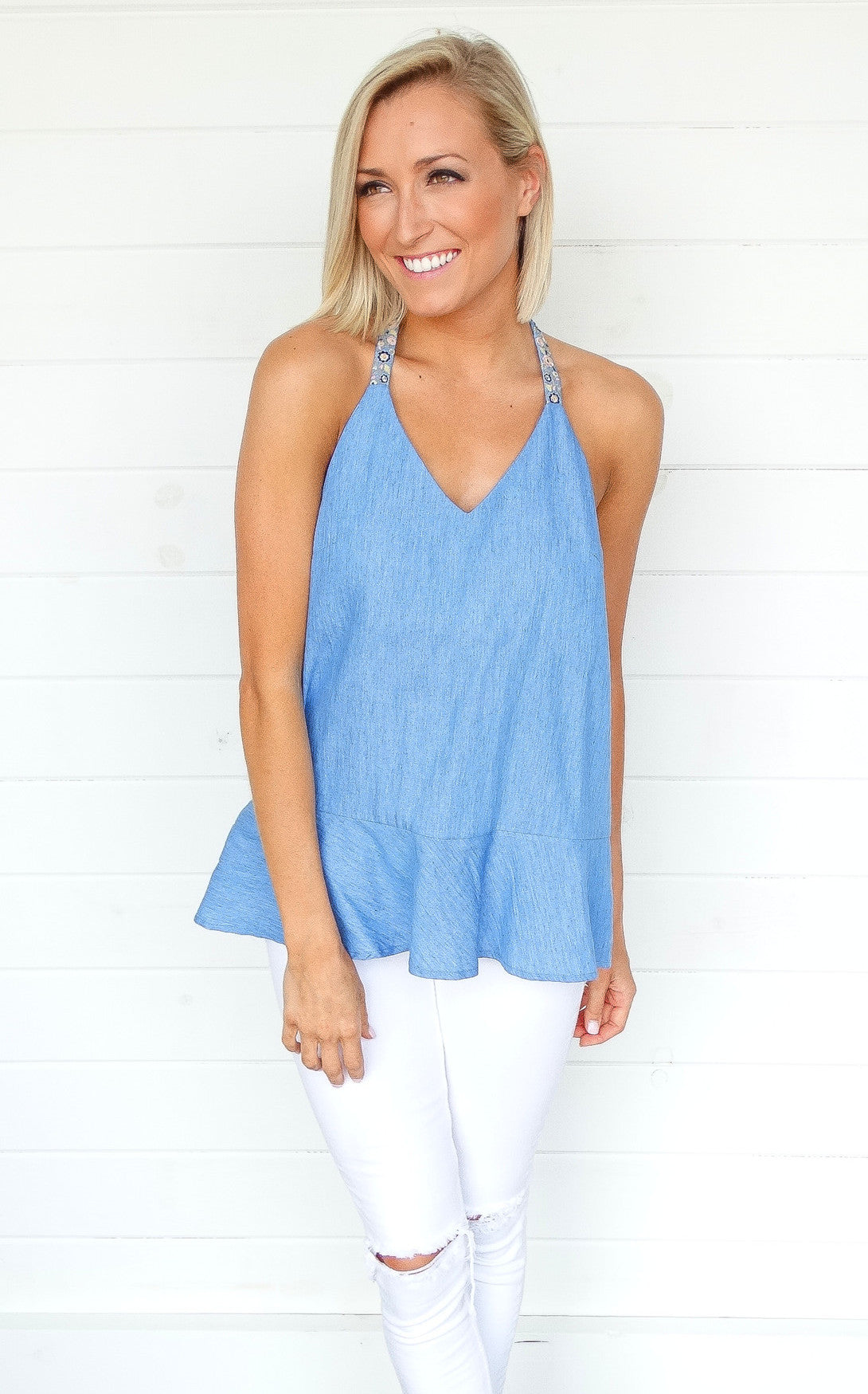 EMBROIDERED T STRAP TOP