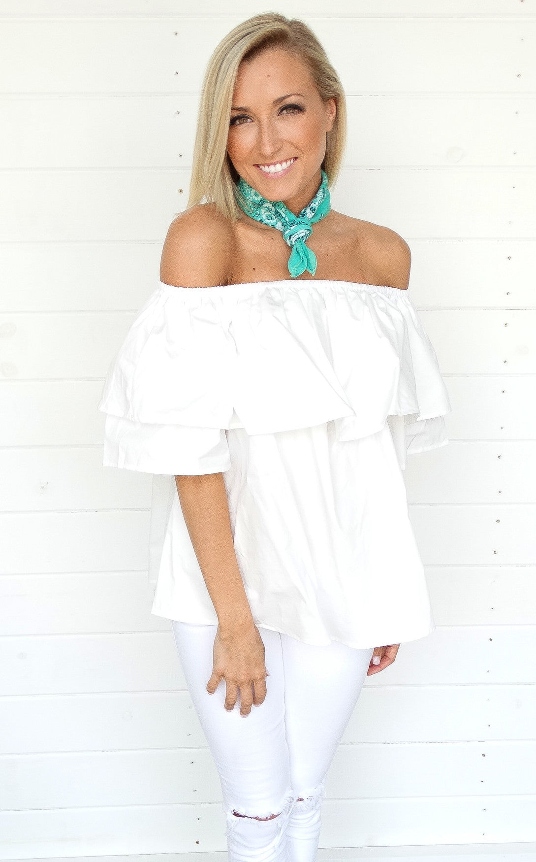 RUFFLE OFF THE SHOULDER