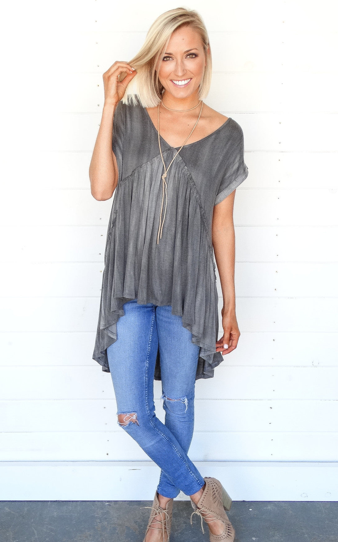 WASHED HIGH-LOW - CHARCOAL