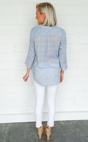 CHECKED SURPLICE TOP
