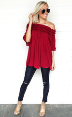 OFF THE SHOULDER TUNIC - BURGUNDY