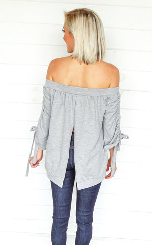 SPLIT BACK RANDI TOP - GREY