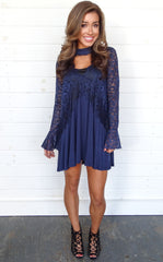 LACE CROIX DRESS - NAVY