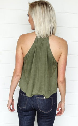 SUEDE SWING TOP - OLIVE