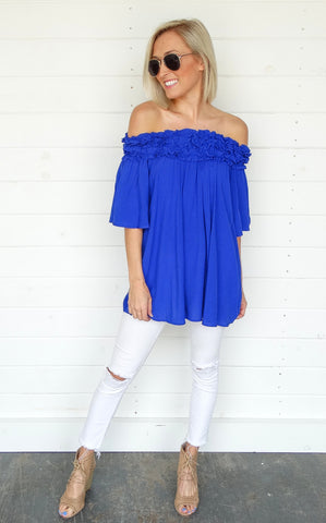 OFF THE SHOULDER TUNIC - ROYAL