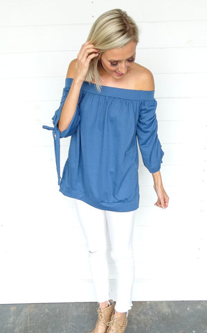 SPLIT BACK RANDI TOP - OCEAN