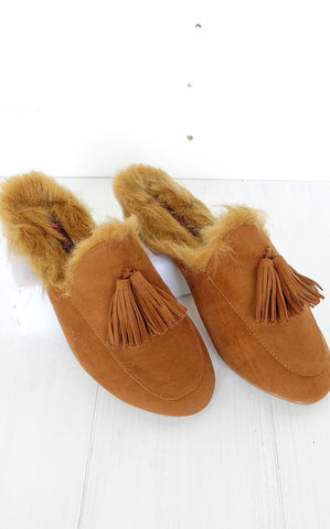 CHESTNUT FAUX FUR SLIDE