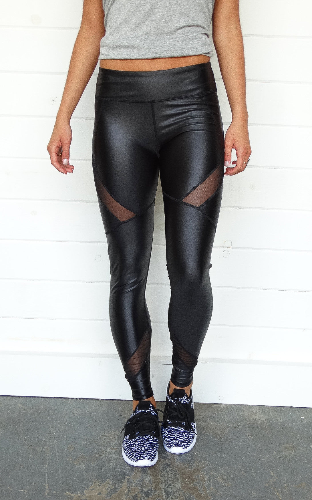 MESH LEATHERETTE LEGGINGS