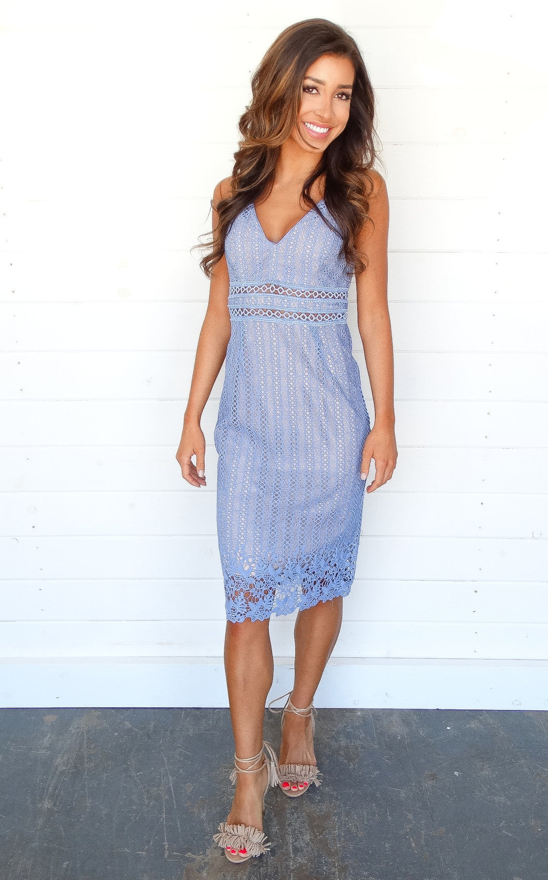 LACEY DRESS - PALE BLUE