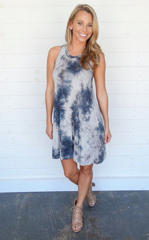 CROSS BACK TIE DYE DRESS