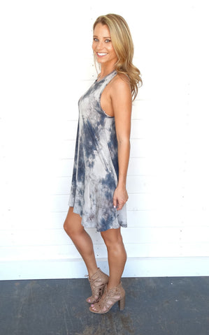 STRAPPY BACK TIE DYE DRESS
