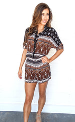 BOHO BUTTON DOWN ROMPER