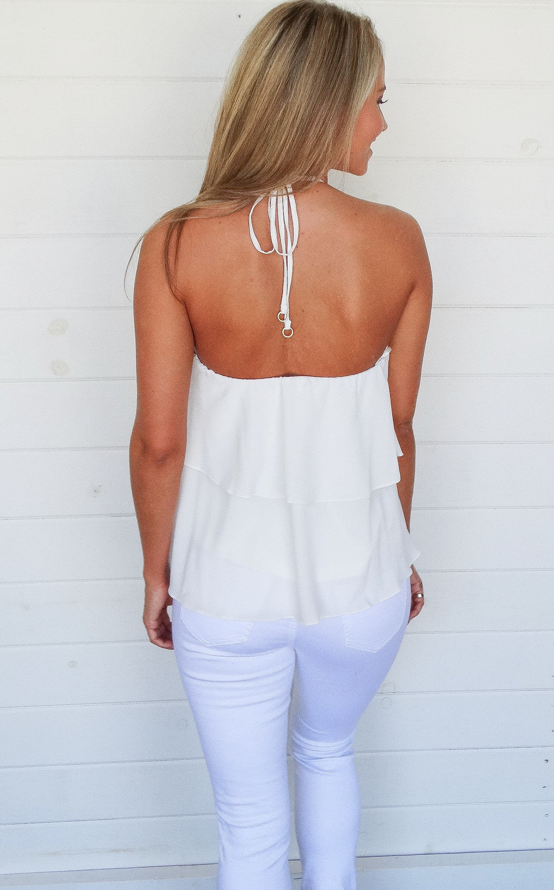RUFFLED HALTER - WHITE