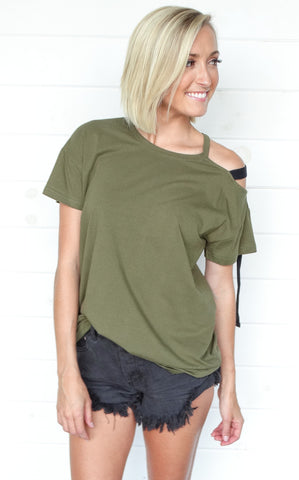 OLIVE SHOULDER TIE TOP
