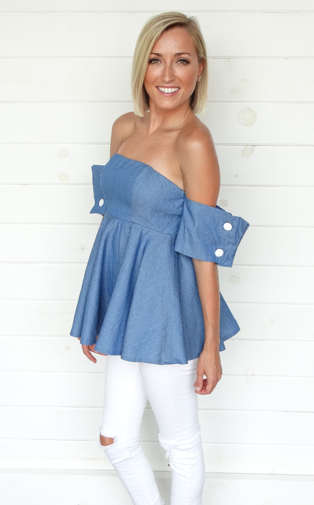 CHAMBRAY PEPLUM TOP