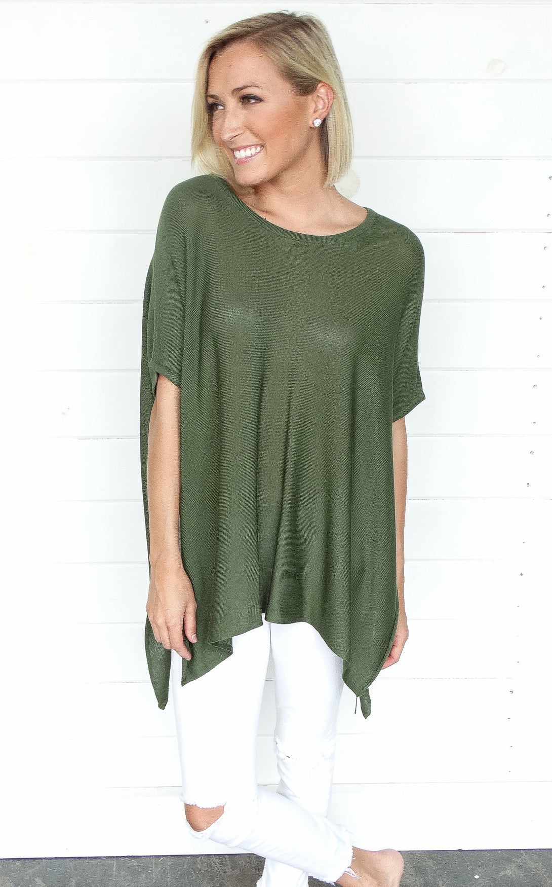 CAGED BACK DOLMAN - OLIVE