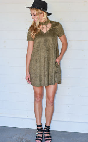 SUEDE SWING DRESS - OLIVE