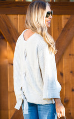 AMERIE LACE BACK SWEATER