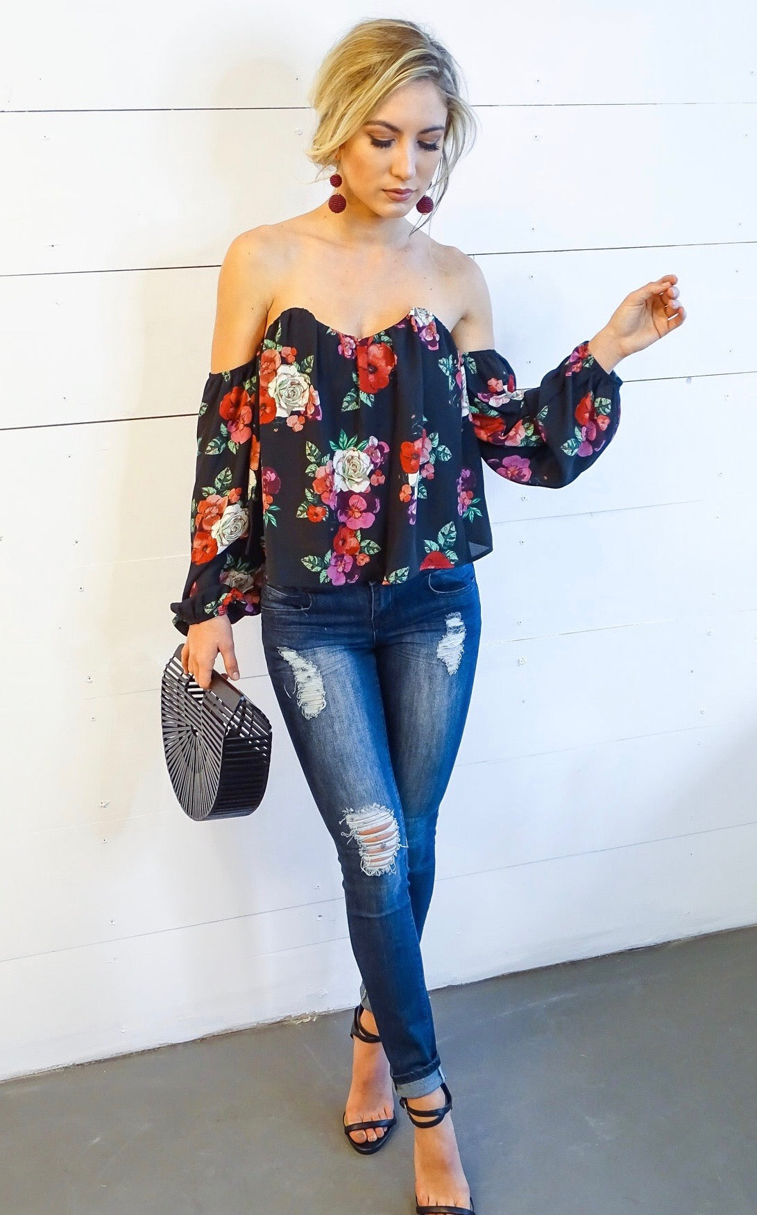 FLORAL NADETTE TOP - BLACK