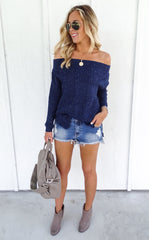 AUBREY OFF THE SHOULDER KNIT - NAVY