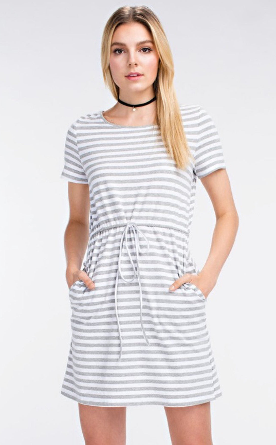 STRIPED DRAWSTRING DRESS