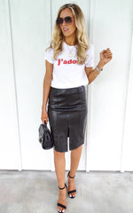 QUINCY LEATHER SKIRT - BLACK
